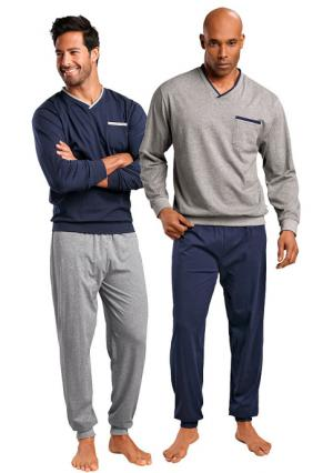 Пижама, 2 штуки LE JOGGER. Цвет: темно-синий+серый меланжевый