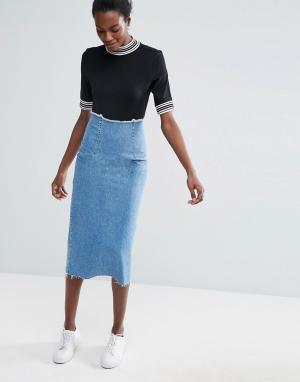 ASOS Синяя выбеленная джинсовая юбка-карандаш миди. Цвет: синий