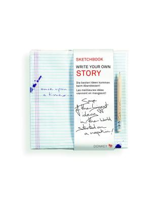 Набор из блокнота и карандаша Story Donkey. Цвет: синий, белый, красный