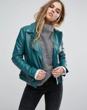 Muubaa Кожаная байкерская куртка Chello. Цвет: зеленый