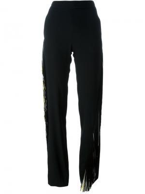 Прямые брюки с бахромой Christopher Kane. Цвет: чёрный