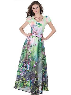 Платье OLIVEGREY. Цвет: зеленый, персиковый