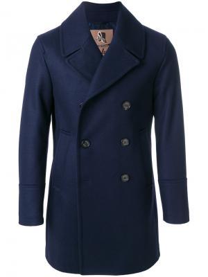 Двубортное пальто Sealup. Цвет: синий