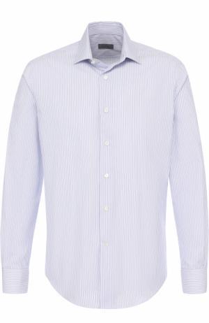 Хлопковая сорочка с воротником кент Lanvin. Цвет: синий