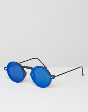 Spitfire Круглые солнцезащитные очки с синими стеклами. Цвет: черный