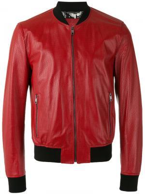 Перфорированная куртка-бомбер Dolce & Gabbana. Цвет: красный