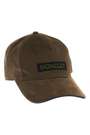 Хлопковая кепка цвета хаки Moncler. Цвет: коричневый