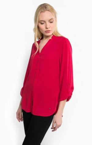 Красная блуза из вискозы с застежкой на пуговицы olsen. Цвет: красный