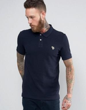 PS by Paul Smith Темно-синяя футболка-поло узкого кроя с логотипом Zeb. Цвет: темно-синий