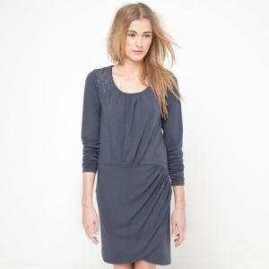 Платье с длинными рукавами La Redoute Collections. Цвет: серый,черный