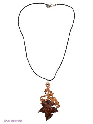 Кулон Лист на ветке Мастер ГРиСС. Цвет: бежевый, коричневый, светло-коричневый