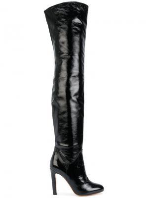 Лакированные ботфорты Francesco Russo. Цвет: чёрный