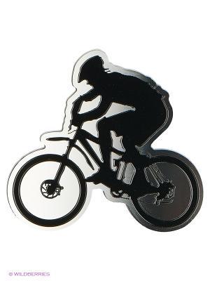 Наклейка 3D Велосипедист N134 WIIIX. Цвет: черный