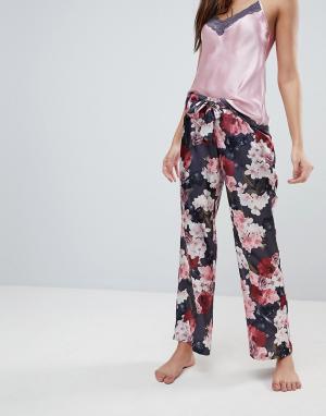 Boux Avenue Атласные пижамные штаны с цветочным принтом. Цвет: розовый