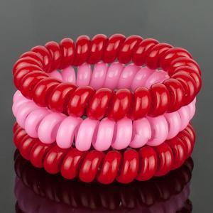Комплект Резинок-Пружинок для волос 3 шт/уп, арт. РПВ-326 Бусики-Колечки. Цвет: красный