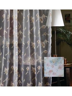 Тюль, органза Нежные цветы, 300*275 см Ambesonne. Цвет: белый, розовый, сиреневый