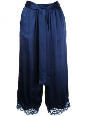 Lace trim cropped trousers Gold Hawk. Цвет: синий