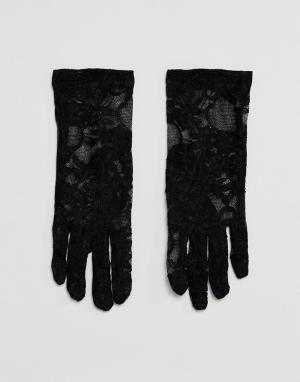 Leg Avenue Эластичные кружевные перчатки длиной до запястья. Цвет: черный