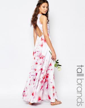 Fame and Partners Tall Платье макси с цветочным принтом и открытой спиной T. Цвет: мульти
