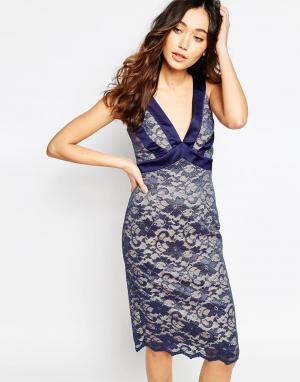 Hybrid Кружевное платье с декольте и атласной отделкой Colette