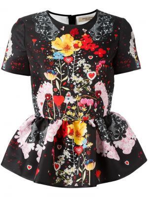 Блузка с цветочным рисунком Piccione.Piccione. Цвет: чёрный