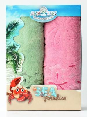 Набор махровых полотенец ромашки Домтекс. Цвет: зеленый, розовый