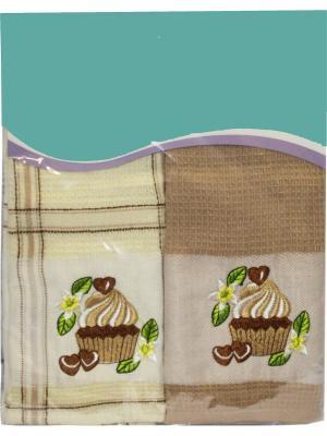 Набор кухонных полотенец Вафля, (38*64см - 2шт.) Dorothy's Нome. Цвет: молочный,коричневый