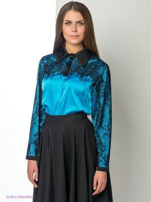 Блузка ELENA FEDEL. Цвет: голубой, черный