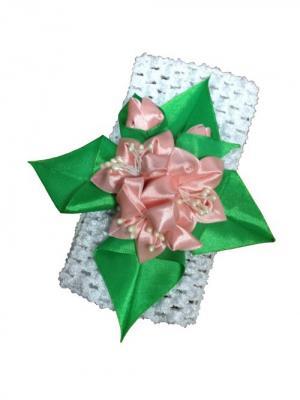 Повязка для волос Лилии ширина 7см. City Flash. Цвет: белый, зеленый, розовый