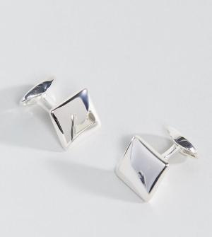 Fred Bennett Серебряные квадратные запонки. Цвет: черный