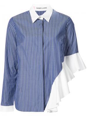Ruffled detail striped shirt Sandy Liang. Цвет: синий