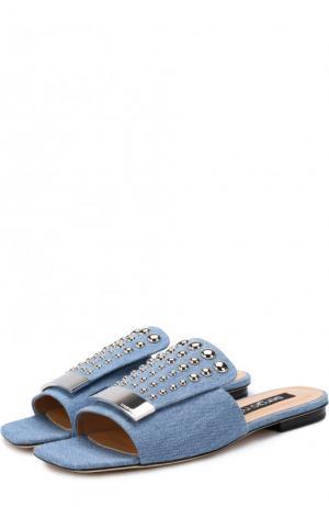 Сабо из денима с металлической отделкой Sergio Rossi. Цвет: голубой