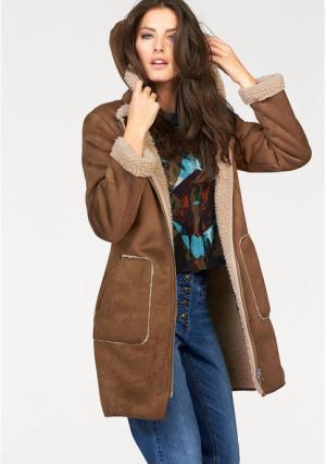 Короткое пальто Aniston. Цвет: серо-коричневый