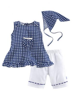 Комплект, 3 части: платье + брюки платок KLITZEKLEIN. Цвет: в клетку