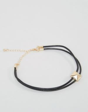 DesignB London Двойной браслет-веревка на ногу с золотистой отделкой эксклюзи. Цвет: черный