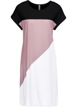 Платье из трикотажа (черный/белый/розовая пудра) bonprix. Цвет: черный/белый/розовая пудра