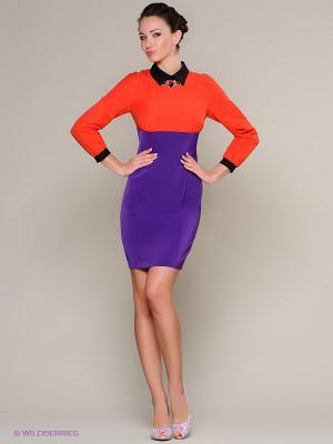 Платье Colambetta. Цвет: фиолетовый, оранжевый, черный