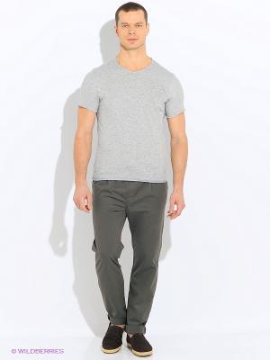 Футболка Sisley. Цвет: серый, кремовый, серебристый