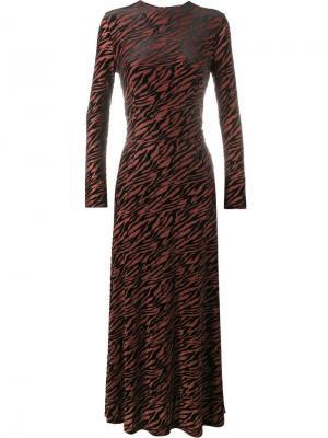Платье с тигровым принтом Ganni. Цвет: красный