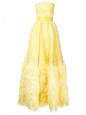 Расклешенное длинное платье без бретелей Isabel Sanchis. Цвет: жёлтый и оранжевый