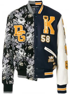 Куртка-бомбер  с контрастными заплатками Dolce & Gabbana. Цвет: чёрный