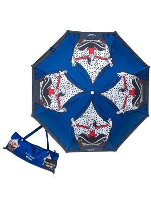 Зонт складной Moschino 7404-OCF Olivia On Scene Blue. Цвет: синий, белый
