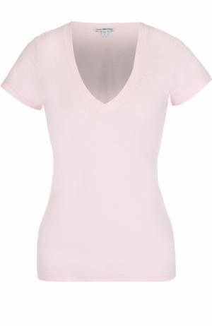 Приталенная футболка с V-образным вырезом James Perse. Цвет: розовый