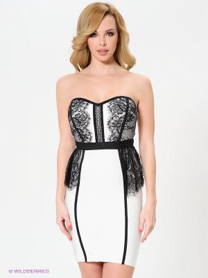 Платье Wow Couture. Цвет: молочный, черный