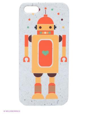 Чехол для IPhone 5 Влюбленный робот Mitya Veselkov. Цвет: серо-голубой, оранжевый