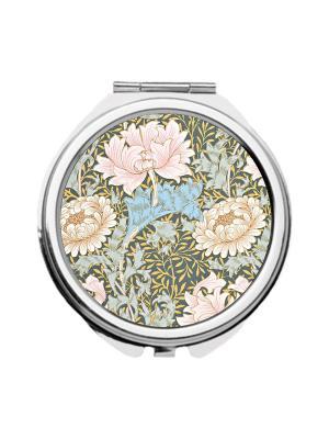 Зеркальце карманное Нежные пионы Chocopony. Цвет: голубой, бежевый, розовый