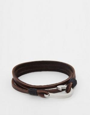 Seven London Кожаный браслет в несколько оборотов с крючком эксклюзивн. Цвет: коричневый