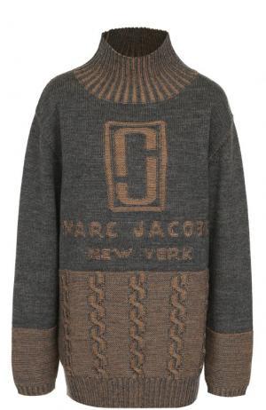 Шерстяной свитер с логотипом бренда Marc Jacobs. Цвет: серо-бежевый