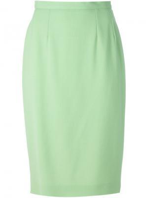 Классическая юбка-карандаш Guy Laroche Vintage. Цвет: зелёный