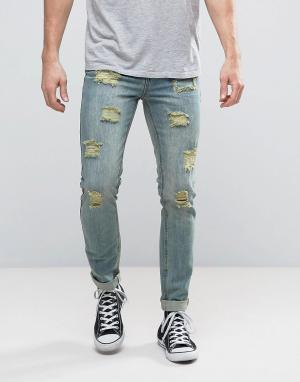Dead Vintage Состаренные джинсы скинни. Цвет: синий